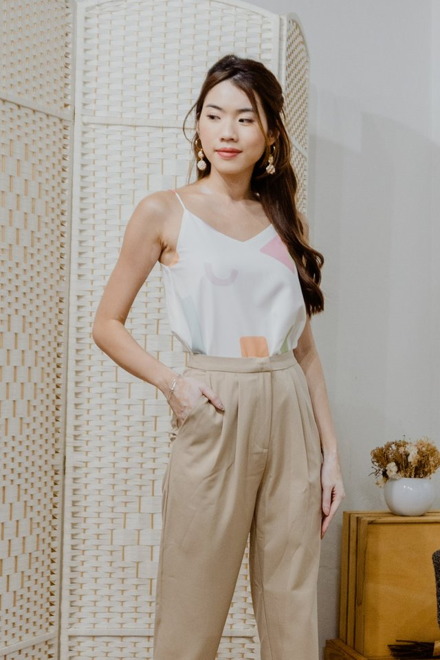 Pastel Shapes Two Way Camisole in White