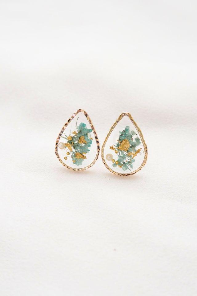 Milda Flower Earstuds in Mint