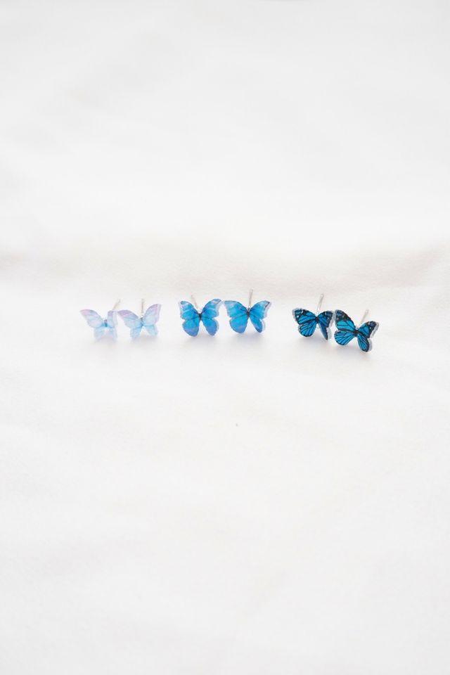 Mini Butterfly Earstuds Set in Blue