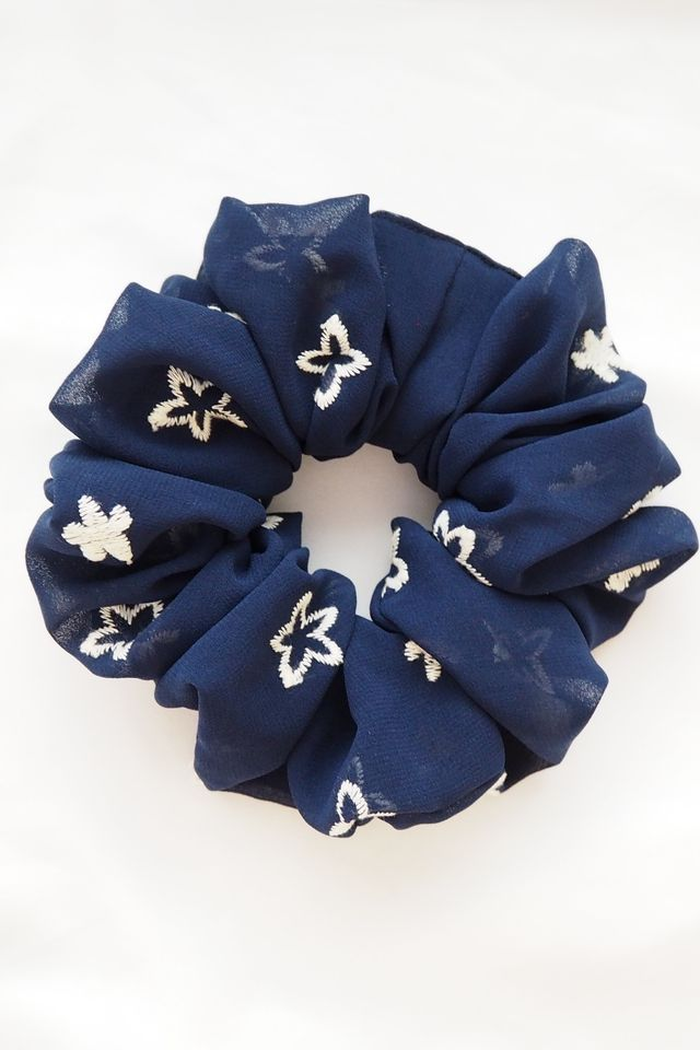 Large Fluffy Scrunchie in Embroidered Flowers