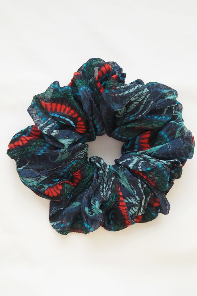Large Fluffy Scrunchie in Peacock