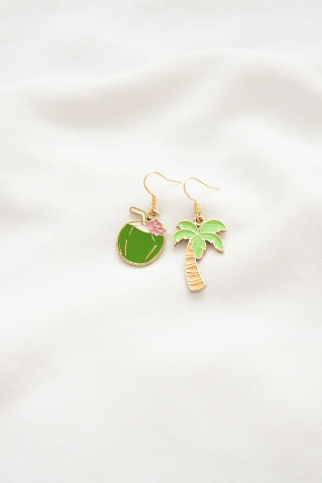 Palm Tree & Coconut Earrings