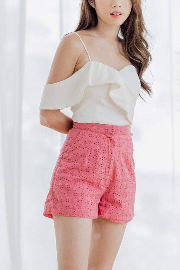 Eyelet Shorts in Pink