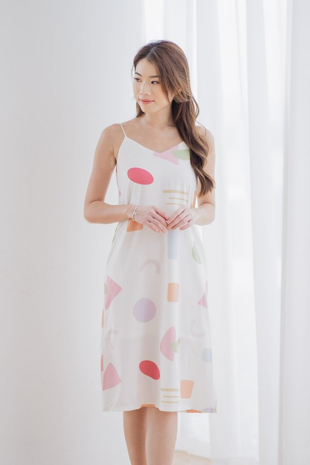 Pastel Shapes Two Way Dress in White