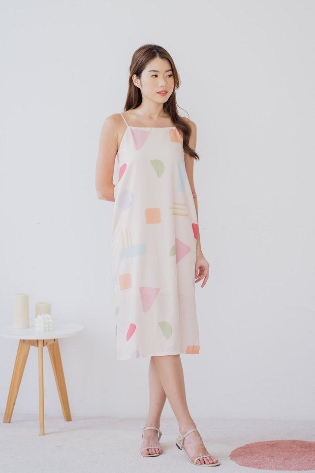 Pastel Shapes Two Way Dress in Nude