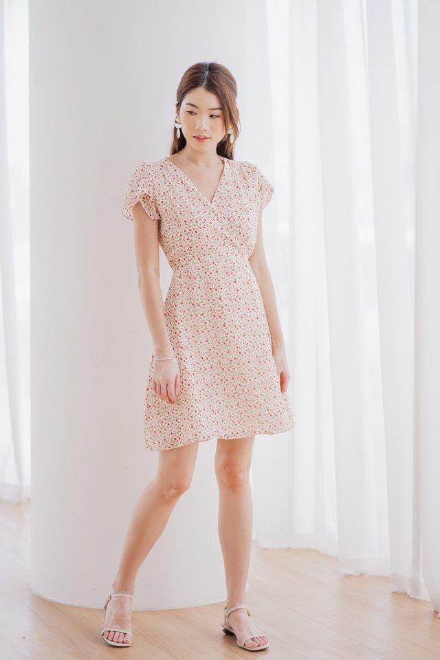 Tiara Floral Dress in Light Cream