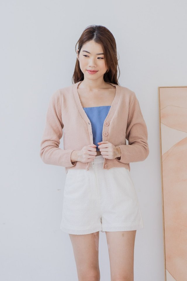 Fuzzy Cropped Cardigan in Almond