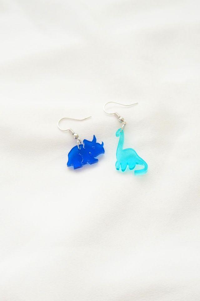 Mismatched Dino Earrings in Cobalt+Cyan