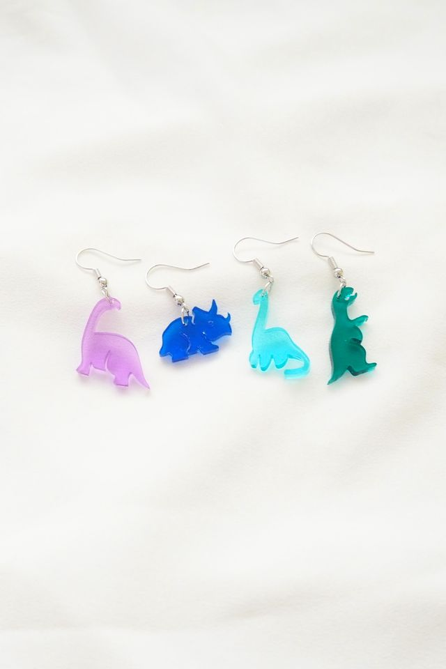 Mismatched Dino Earrings in Green+Purple