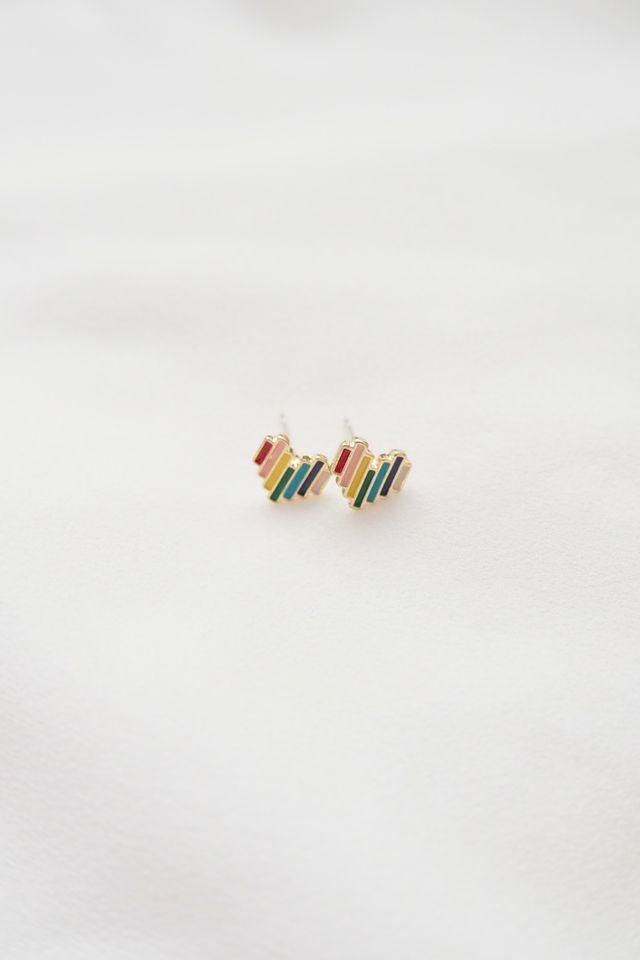 Mini Rainbow Heart Earstuds