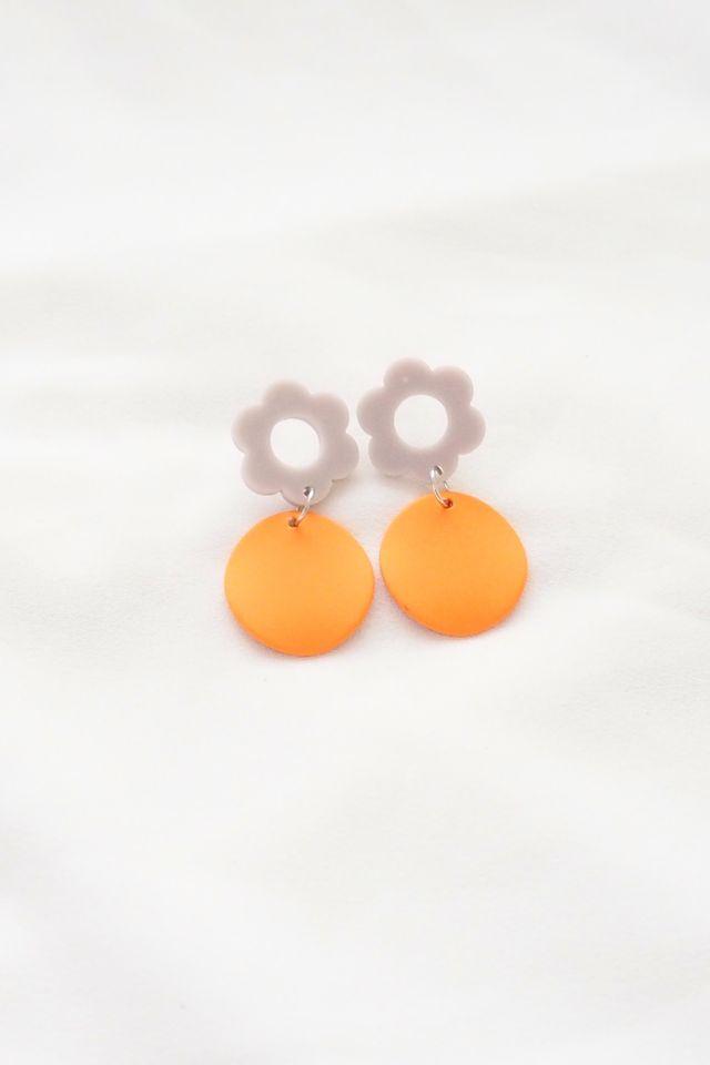 Flower Charm Earstuds in Orange